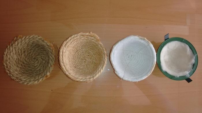 Nidos de esparto, pita, algodon, plastico con forro